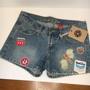 Awesome NWT Vanilla Star Jeans Patch Shorts Size 7